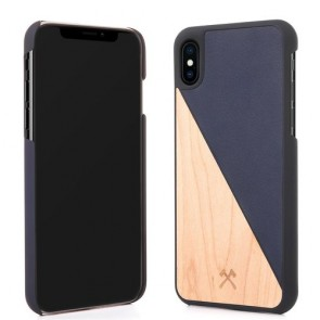 Woodcessories EcoCase - EcoSplit Maple/Navy Blue Leather (vegan) for iPhone Xs Max