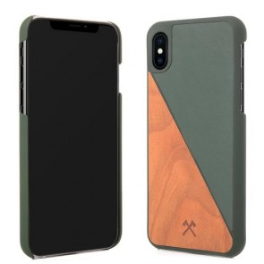 Woodcessories EcoCase - EcoSplit Cherry/Green Leather (vegan) for iPhone Xs Max