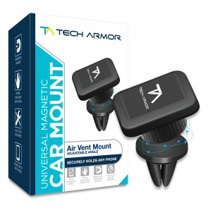 Tech Armor Universal Air Vent Magnetic Car Mount, Quick Snap w/ Swivel - Black
