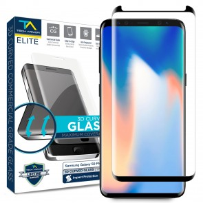 Tech Armor ELITE Ballistic Glass Screen Protector 3D Curved for Galaxy S9 Plus, Black - 1-pack