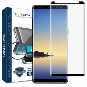 Tech Armor Tech Armor Ballistic Glass Screen Protector, Case-Friendly, 3D Curved for Galaxy Note 8, Black - 1-pack