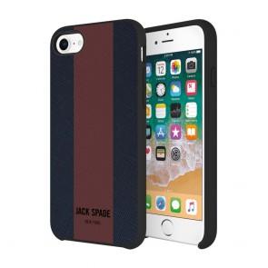 JACK SPADE Comold Inlay Case for iPhone 8, iPhone 7 - Racing Stripe Navy/Burgundy Stripe