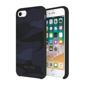 JACK SPADE Comold Inlay Case for iPhone 8, iPhone 7 - Shadow Camo Blue Leather