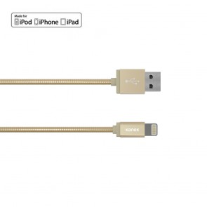 Kanex DuraFlex Charge & Sync Cable with Lightning Connector, Tangle-free Metal Gold, 4ft/1.2m