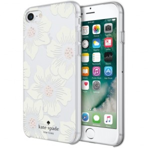 kate spade new york Protective Hardshell Case for iPhone 8, iPhone 7 & iPhone 6/6s - Hollyhock Floral Clear/Cream with Stones
