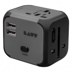 Laut World Adaptor Travel Black