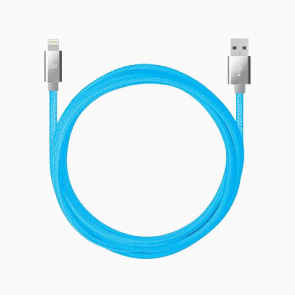 Candywirez 10FT Marbled Woven Lightning Cable - Neon Blue