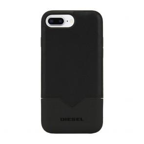 Diesel Credit Card Case for iPhone 8 Plus, iPhone 7 Plus, iPhone 6 Plus, and iPhone 6s Plus - Black Leather/Black
