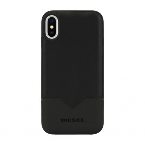 Diesel Credit Card Case for iPhone X - Black Leather/Black