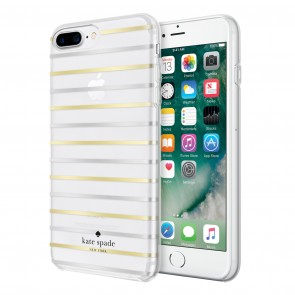 kate spade new york Protective Hardshell Case (1-PC Comold) for iPhone 7 Plus & iPhone 6 Plus/6s Plus - Surprise Stripe Clear/Gold Foil/Silver Foil
