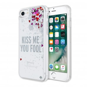 kate spade new york Liquid Glitter Case for iPhone 7 - Kiss Me You Fool Silver Glitter/Silver Foil Hearts/Pink Hearts/Red Hearts