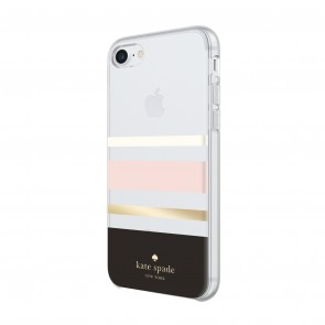 kate spade new york Protective Hardshell Case for iPhone 8, iPhone 7 & iPhone 6/6s - Charlotte Stripe Black/Cream/Blush/Gold Foil