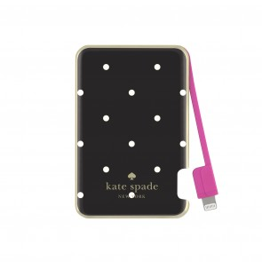 kate spade new york Slim Charging Bank (Captive Lightning / 1500mAh) - Larrabee Dot Black/Cream