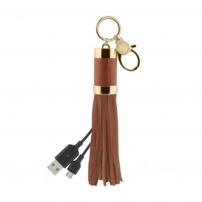 Rebecca Minkoff Power Tassel Keychain (Micro-USB) - Almond Leather