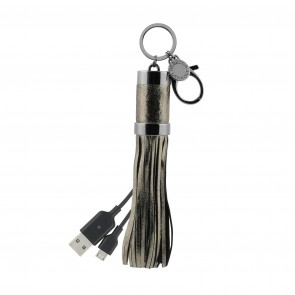 Rebecca Minkoff Power Tassel Keychain (Micro-USB) - Cracked Leather Anthracite