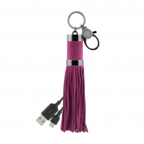Rebecca Minkoff Power Tassel Keychain (Micro-USB) - Soft Berry Suede