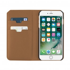 Uri Minkoff Saffiano Leather Folio Case for iPhone 8 Plus & iPhone 7 Plus - Luggage Brown