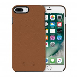 Uri Minkoff Saffiano Leather Wrap Case for iPhone 8 Plus & iPhone 7 Plus - Luggage Brown