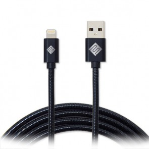 Qmadix Full Metal Jacket USB Charging-Data Sync Metal Lightning Cable 3.3ft Black