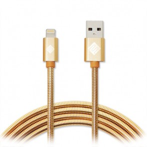 Qmadix Full Metal Jacket USB Charging-Data Sync Metal Lightning Cable 3.3ft Gold