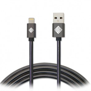 Qmadix Full Metal Jacket USB Charging-Data Sync Metal Lightning Cable 3.3ft Gunmetal