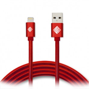 Qmadix Full Metal Jacket USB Charging-Data Sync Metal Lightning Cable 3.3ft Red