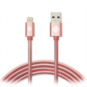 Qmadix Full Metal Jacket USB Charging-Data Sync Metal Lightning Cable 3.3ft Rose Gold