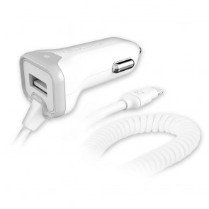 Qmadix Car Charger Lightning 3.4amp Aux USB Port White