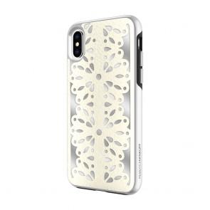 Rebecca Minkoff Luxury Calls Case for iPhone X - Laser Cut Bianco/Silver