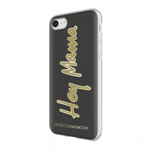 Rebecca Minkoff Be More Transparent Case for iPhone 8 & iPhone 7 - Hey Mama Translucent Black/Gold Glitter
