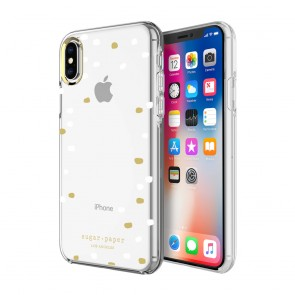 Sugar Paper Printed Case for iPhone X -  Party Dot Clear/White Dots/Gold Dots