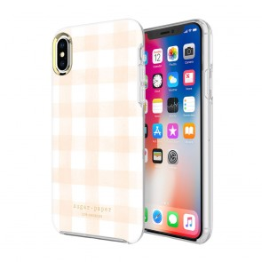 Sugar Paper Printed Case for iPhone X - Watercolor Plaid Blush/White
