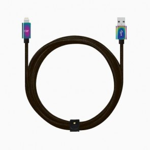 Candywirez 6FT Marbled Woven USB-C to USB-A Cable with Strap - Black + Chrome Connector