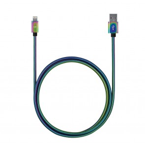 Candywirez 3FT Stainless Steel USB-C to USB-A Cable - Chrome