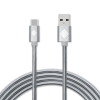Qmadix - Full Metal Jacket Type A to Type C Cable 3.3ft - Silver