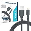Tech Armor Kevlar lined 8 pin Lightning USB cable, 2 ft, braided, space grey