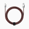 Candywirez 10FT Marbled Woven Lightnig Cable with Strap - Red / Grey