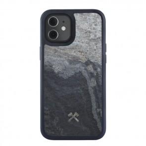 Woodcessories Bumper Case iPhone 12 mini Camo Gray / Real Slate Stone / Black TPU Softcase