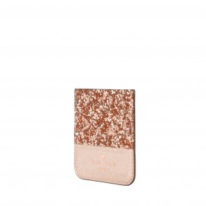 kate spade new york Sticker Pocket - Color-Block Rose Gold Glitter/Gold Saffiano