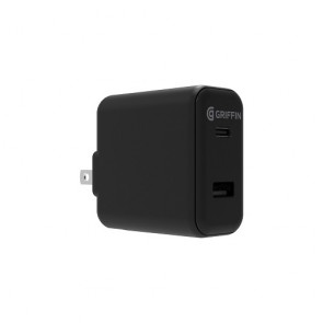 Griffin PowerBlock Dual USB-C PD 18W and USB-A with USB-C to Lightning Cable - Black (North America)