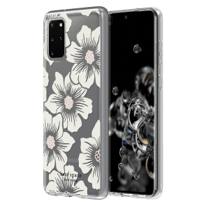 kate spade new york Protective Hardshell Case (1-PC Comold) for Samsung Galaxy S20+ Hollyhock Floral Clear/Cream with Stones