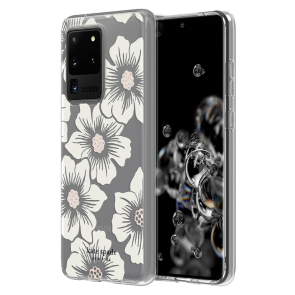 kate spade new york Protective Hardshell Case (1-PC Comold) for Samsung Galaxy S20 Ultra - Hollyhock Floral Clear/Cream with Stones