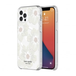 Kate Spade New York Protective Hardshell Case (1-PC Comold) with MagSafe for iPhone 12 & iPhone 12 Pro – Hollyhock Floral Clear/Cream with Stones