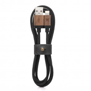 Woodcessories EcoCable - Wooden Lightning Cable (Mfi Apple certified) Walnut/ black Nylon for all Lightning Products
