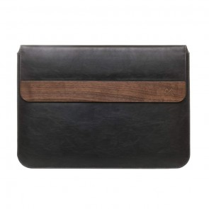 Woodcessories EcoPouch - Wooden MacBook Sleeve Walnut / Black Leather (vegan) for MacBook 11 Air, 13 Air, 13 Pro, 13 Pro Ret, 13 Pro Touchbar