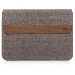 Woodcessories EcoPouch - Wooden MacBook Sleve Walnut / Brown-Grey Cotton for MacBook 11 Air, 13 Air, 13 Pro, 13 Pro Ret, 13 Pro Touchbar