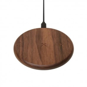 Woodcessories EcoPad - Wooden Wireless Charger (with 1.2m USB Cable) Walnut Wood / Brushed Metal / Nylon Cable
