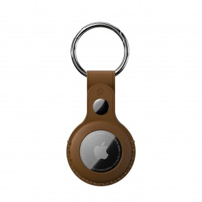SwitchEasy AirTag Wrap Leather Keychain Saddle Brown
