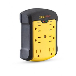 360 Electrical 36002 Pro Heavy Duty Surge Wall Tap with Hexacore, Black/Yellow
