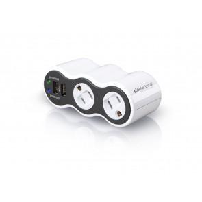 360 Electrical PowerCurve Mini 2-Outlet Rotating Surge Tap w/ 2.1A 2-Port USB